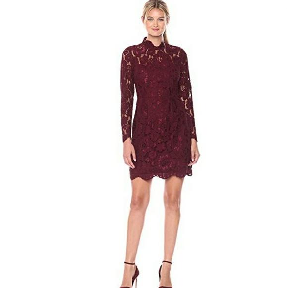 c9ecdbbe9c60d Betsey Johnson Dresses | Womens Lace Sheath Dress Wine 4 | Poshmark